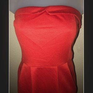 New Red Mini Dress With Lapel Accent/Zipper Back